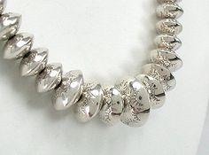 I would like a faux desert pearl necklace with big beads because I am big. Do Native Americans ever make good quality fake jewelry? Ethnic Jewelry, Navajo Jewelry, Unique Jewelry, Jewelry Ideas, Diy Jewelry, Jewellery, Metal Beads, Silver Beads, Silver Jewelry