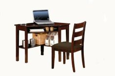 Homelegance Benton Desk and Chair Set, Cherry Finish by Homelegance. $299.00. Ladder back chair with upholstered seat. Great as a student desk or for a small home office space. Corner desk with matching chair. Cherry finish. Open shelving. With convenience and space-saving in mind, the design of the Benton cherry finish desk and chair works perfectly in any home office environment. Whether being utilized as a student desk or tuck away in your home as a small offi...