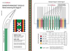 Band weaving kit Sigga 8 green - Stoorstålka Sámi Design Jokkmokk Inkle Weaving, Inkle Loom, Card Weaving, Tablet Weaving, Weaving Art, Weaving Patterns, Loom Board, Peg Loom, Weaving Techniques