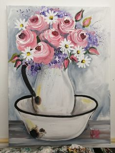By Wilma Potgieter Girls With Flowers, Pink Roses, Paintings, Paint, Painting Art, Painting, Painted Canvas, Drawings, Grimm