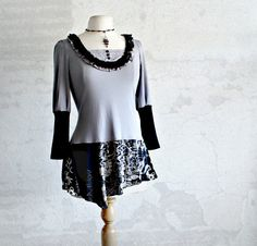 Upcycled Tunic Gray Women's Top Bohemian Shirt Recycled Clothing Long Black Tunic Goth Inspired Eco Friendly Clothes Medium 'KATE'