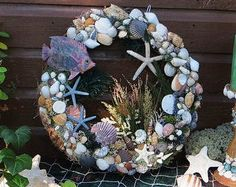 Beach Decor Nautical Twig Wreath TW003 di JJIlluminations su Etsy