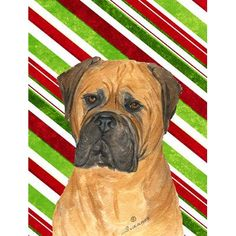 Caroline's Treasures Bullmastiff Candy Cane Holiday Christmas House Vertical Flag