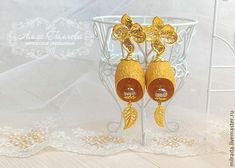 Купить Серьги из коконов шелкопряда - золотой, серьги, серьги ручной работы, кокон, коконы шелкопряда