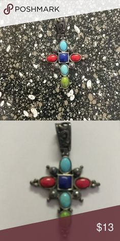 Cross Pendant with colorful stones Great condition! Made with beautiful turquoise, coral, green and dark blue stones. Chain is not included. NO TRADES!! Jewelry Necklaces