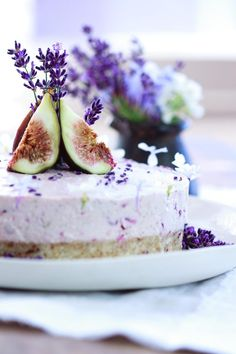 A divine Raw Fig, Cherry, Lavender and Honey Cake infused with lavender flowers. A colour, festive dessert. Gluten free, dairy free.