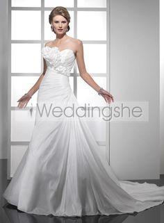 Modest A-line Sweetheart Chapel Train Wedding Dress(Free Shipping)