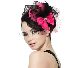 Feather Lace BOW 2 Hair Clips Pink Mini TOP HAT Lolita Burlesque Fancy Dress   eBay