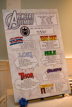 "& Jess' Avengers: Assemble wedding ""My maid of awesome made our seating chart to look like it came straight out of an Avengers comic book!""""My maid of awesome made our seating chart to look like it came straight out of an Avengers comic book! Marvel Wedding Theme, Avengers Wedding, Comic Book Wedding, Wedding Superhero, The Plan, How To Plan, Seating Chart Wedding, Seating Charts, Wedding Tips"