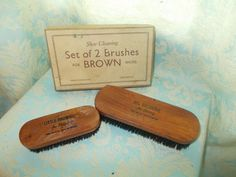 brown shoe brushes, £5.00 by lovelocks whatknots:  brown shoe brushes in good condition for age with original box.