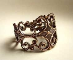 Organic Beauty Art Nouveau Antiqued Brass Filigree...