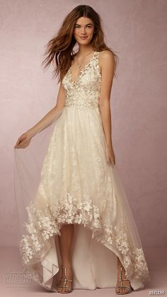 bhldn spring 2016 sleeveless v neck lace strap embellished bodice illusion back lace hem romantic pretty a line wedding dress marchesa (opal) mv