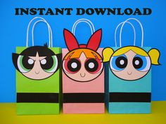 PowerPuff Girls Party Favor Bags. PowerPuff Girls Birthday Party Ideas/ Party Decoration/ Favors/ Goodie/ Goody/ Loot/ Candy/ Treat/ Bags/ Bag/ Power Puff Girl/ Girls/ invite/ invitation/ bottle label/ labels/ cake/ cupcake toppers/ stickers/ pinata/ piñata/ dress/ tutu/ centerpieces/ capes/ cape/ bubbles blossom/ buttercup/ banner