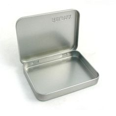 tin box for greeting card with hinge