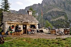 This is a house built with stone in the mountains of Ticino. There is no way for cars to this place, thats why it must habe been built more or less by hand.
