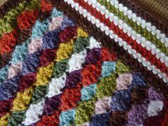 shell multi color stripe afghan
