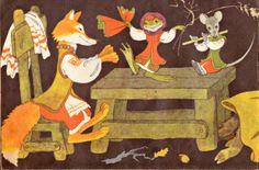 The Mitten, Ukrainian folk tale, Illustrated by E. Bulatov and O. Vasiliev, Manusa, poveste ucrainiana, Editura Malis, Moscova, 1977