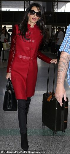 Amal Clooney looked stunning in a Versace red leather coat as she made her way through LAX on Sunday, Jan. Amal is flying to London to represent Armenia. Amal Clooney, George Clooney, Lawyer Fashion, Professional Outfits, Work Attire, Autumn Winter Fashion, Work Wear, Style Me, Celebrity Style