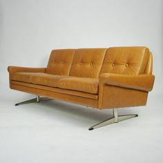 Svend Skipper; Chromed Metal and Leather Sofa, 1960s.