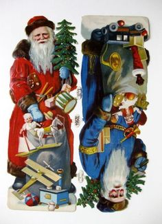 This is a Victorian era die cut scrap. It features the old style Saint Nick, Father Christmas Santa in a blue coat with a bag of toys and one of the toys is a Blackman Jack in the box which may be a reference to the Dutch Santa named Sinterklass whom has a helper slave namedZwarte Pie. | eBay!