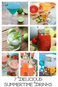 Delicious summertime drinks.  Can't wait to sit on the patio and try some of these!