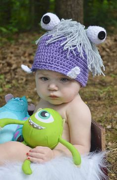 boo halloween costume crochet monster boo monsters inc boo costume monsters inc boo hat baby beanie photo prop hat - Monsters Inc Baby Halloween Costumes