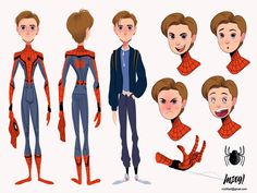 Spider-Man: Into the Spider-Verse Concept Art by Robh Ruppe Character Model Sheet, Character Modeling, Comic Character, Character Concept, Concept Art, Character Design Animation, Character Design References, Art Teen, Character Turnaround