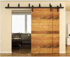 7.5FT Black Bypass Rustic Sliding Roller Barn Double Wood Door Hardware Closet…