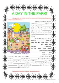A day in the park - present simple & continuous
