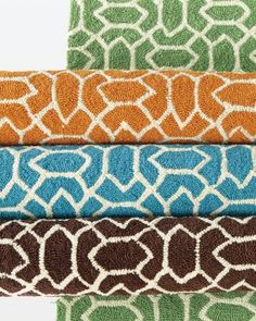 Patio Hooked Indoor-Outdoor Rug by Company C - the ice blue color would look great against the dark wood that my room's floor is stained - first time living without carpet at school!