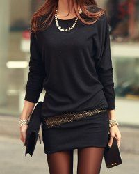 Simple Style Scoop Neck Long Sleeve Sequin Embellished Packet Buttock Cotton Blend Dress For Women (BLACK,ONE SIZE) | Sammydress.com Mobile