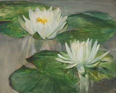 """Water Lilies in White Water -- Study of Faint Sunlight,"" John La Farge, ca. 1884, watercolor and gouache on paper, 9 1/8 x 11 3/8"", William Vareika Fine Art."