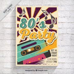 Eighties party brochure with music tape  Free Vector