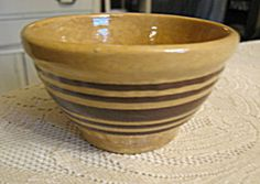Antique tiny yellow ware banded bowl for sale at More Than McCoy on TIAS!