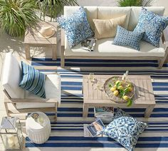 Outdoor Sofa, Outdoor Spaces, Outdoor Furniture Sets, Outdoor Decor, Indoor Outdoor, Outdoor Pillow, Screened In Porch Furniture, Wooden Furniture, Home Staging