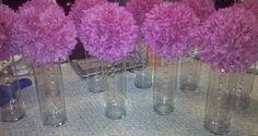 purple pom pom centerpieces - etsy