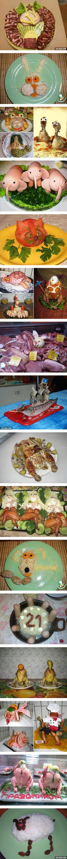 How They Decorate Food in Russia