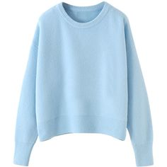 Macaron-tone Dropped-shoulder Cropped Pullover Jumper ($40) ❤ liked on Polyvore featuring tops, sweaters, blackfive, shirts, blue top, jumper shirt, blue pullover sweater, cropped jumper and blue cropped sweater