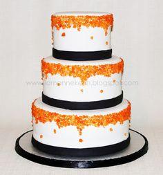 The Pink Momma: Orange and black theme wedding cake