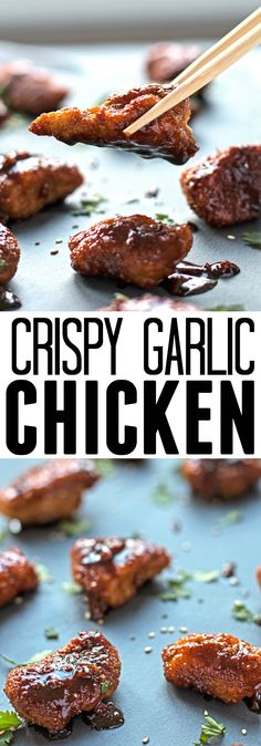 Crispy chicken is tossed with a sticky and garlicky sauce to make a better-than-take-out dinner!