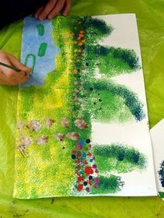 painting monet's garden. Kindie's &1st graders loved this one. Followed along but also added own creative touches.