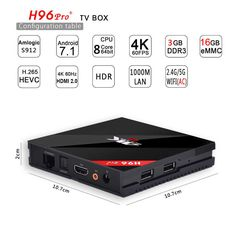 Twinpa H96 Pro+ Octa Core 3G 16G 4K Android 7.1 Smart TV Box Kodi 17.1v  Krypton