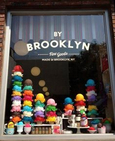 A cute ice cream window display. Brooklyn Fine Goods in Brooklyn.