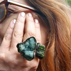 Perfect autumnal wear #insitu. #statementrings #everydaywear #exotic #mineral #rings #badass #fashion #couture #couturefashion #dug from the #earth #minerals #noappology #madeinnyc @sarajessiekane