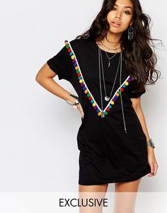 Reclaimed+Vintage+Oversized+T-Shirt+Dress+With+Pom+Pom+V+Detail