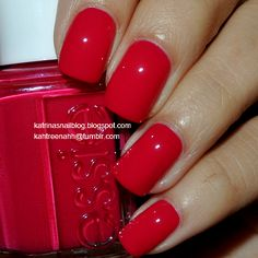 Essie - Haute In The Heat, 2014 Summer Collection; Diy Nails Manicure, Cat Nails, Bling Nails, Love Nails, Pretty Nails, Hello Kitty Nails, Red Nail Designs, Nail Candy, Japanese Nails