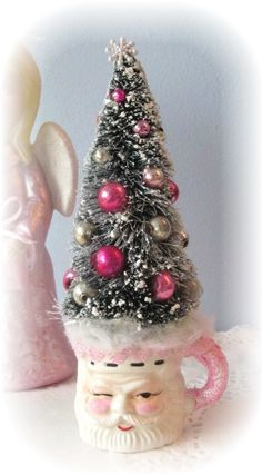 SANTA Mini CUP Pink Shabby Sweet Bottle Brush by RoseChicFriends