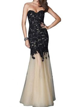 Sunvary Fancy Mermaid Lace Prom Dress Pageant Dress for Evening Long - US Size 12- Black