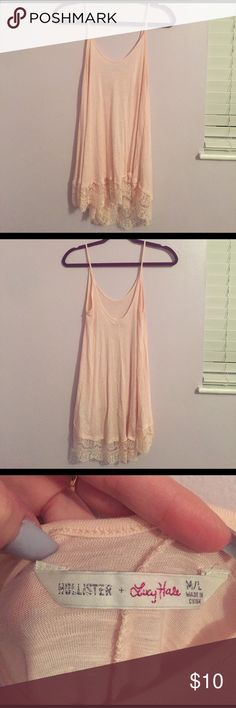 Pink tank with lace bottom Lucy Hale's clothing line at Hollister. Perfect condition. Hollister Tops Tank Tops