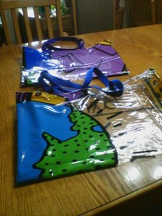 Swim bags made from shower curtain.  1 curtain makes at least 4 bags.  No need to bring plastic bags for wet towel and swimwear.